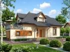 Проект современного дома с цоколем и мансардой